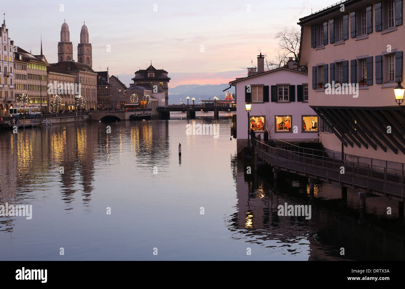 Evening view of Limmat river and embankments, Zurich, Switzerland - Stock Image