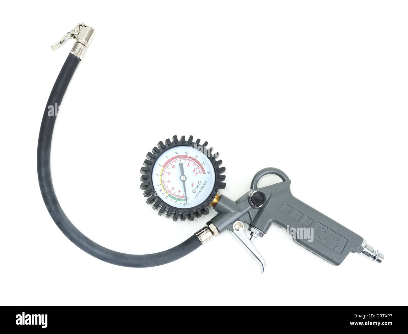 Tire inflator with gauge shot on white - Stock Image