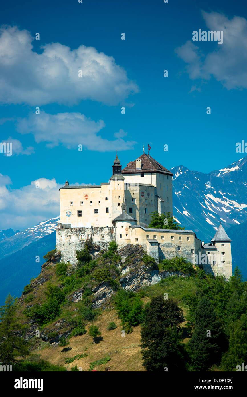 Tarasp Castle in the Lower Engadine Valley, Switzerland - Stock Image