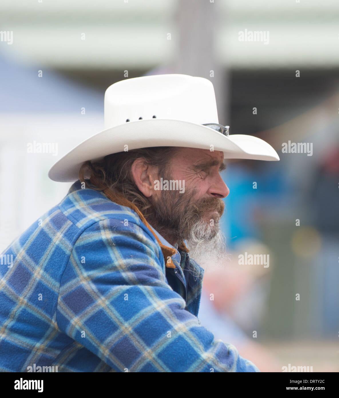 07274fc772c Bearded man wearing a white Stetson - Taralga Rodeo - New South Wales -  Australia -