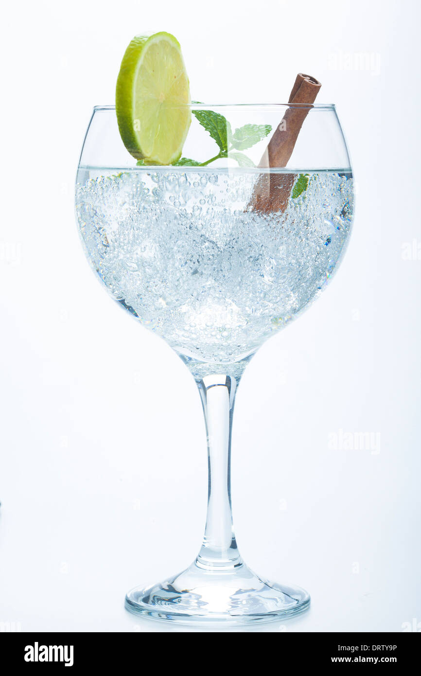 lemon and cinnamon gin tonic isolated over white background - Stock Image