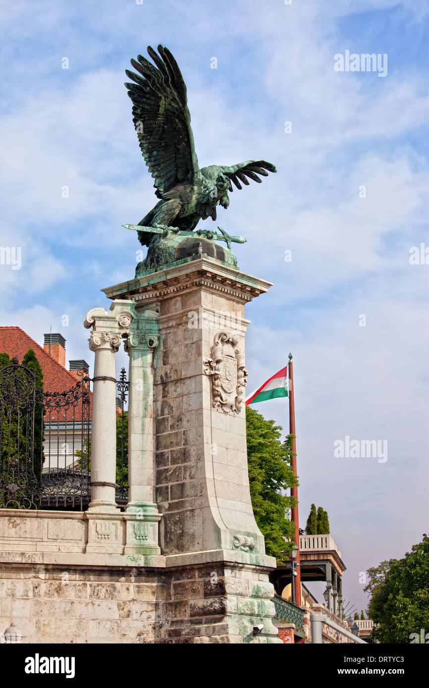 Mythical Turul Bird bronze statue from 1905, located next to the Buda Castle in Budapest, Hungary. Stock Photo
