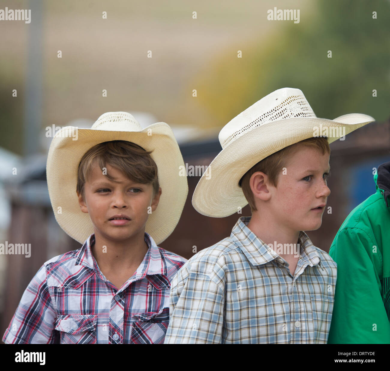 08eafe3d Two young Boys wearing Stetson Hats - Australia - Stock Image