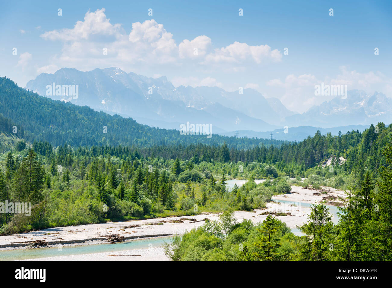 alps and river named Isar in the alps at Karwendel - Stock Image