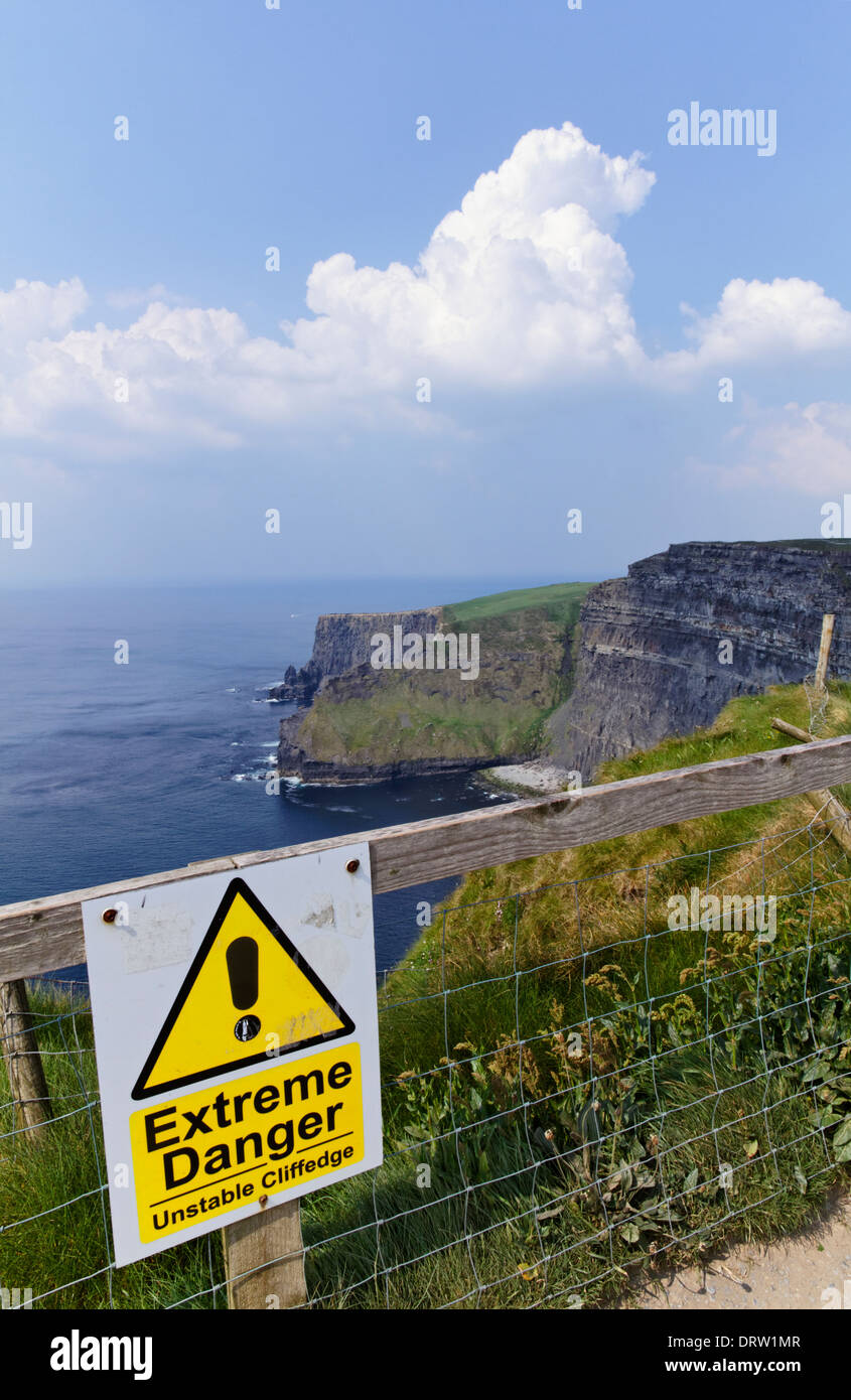 Warning sign at the Cliffs of Moher in County Clare Ireland - Stock Image
