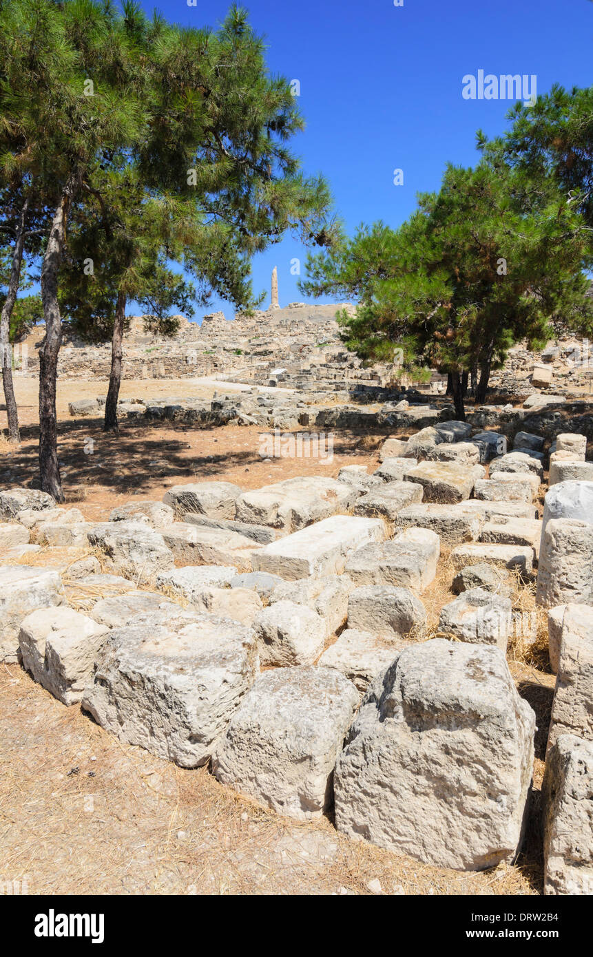 Ruins on the ancient site of the Hill of Koloni, Aegina Island, Greece - Stock Image