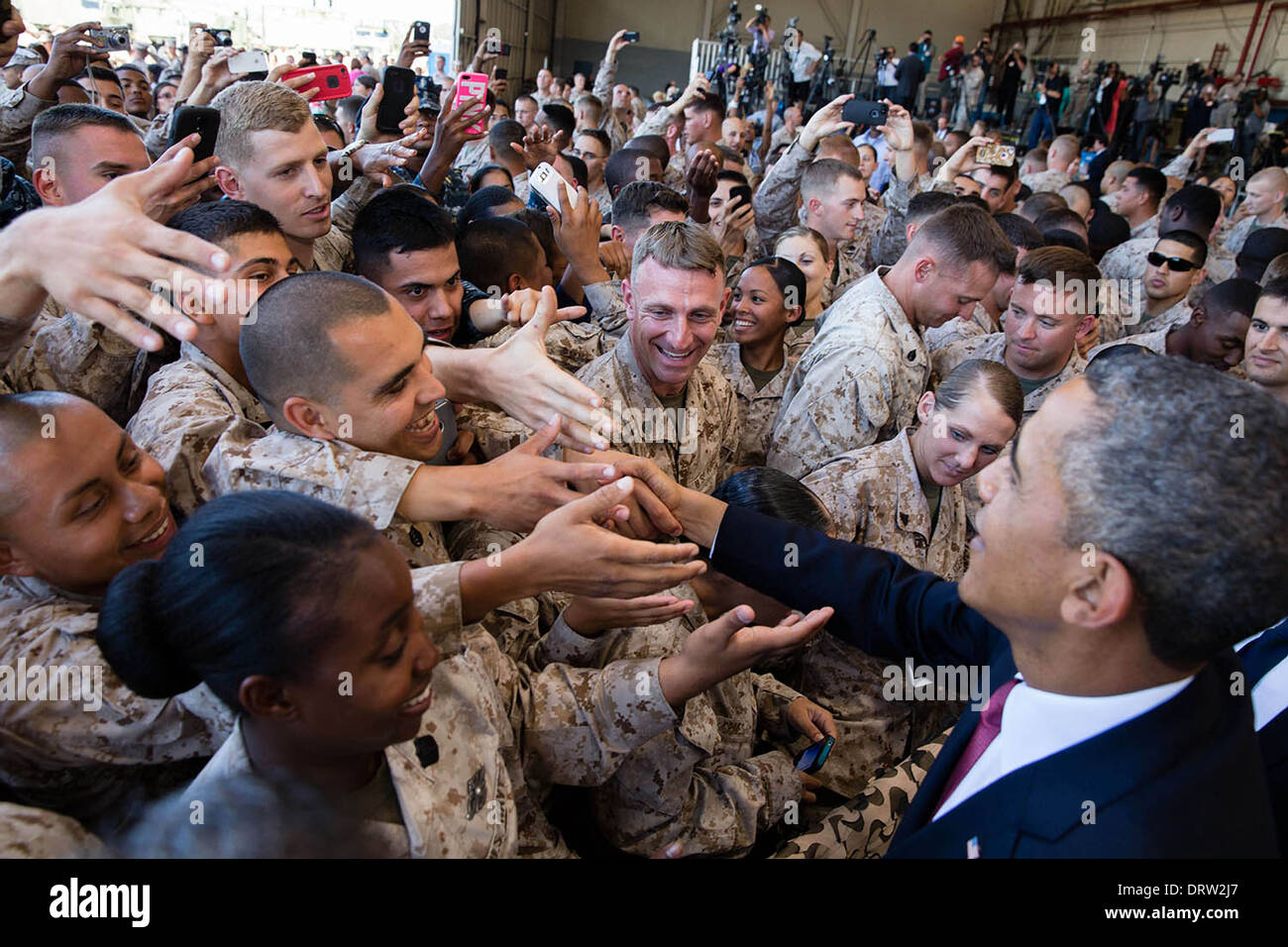 US President greets troops during a rally at Marine Corps Base Camp Pendleton August 7, 2013 in Camp Pendleton, CA. - Stock Image