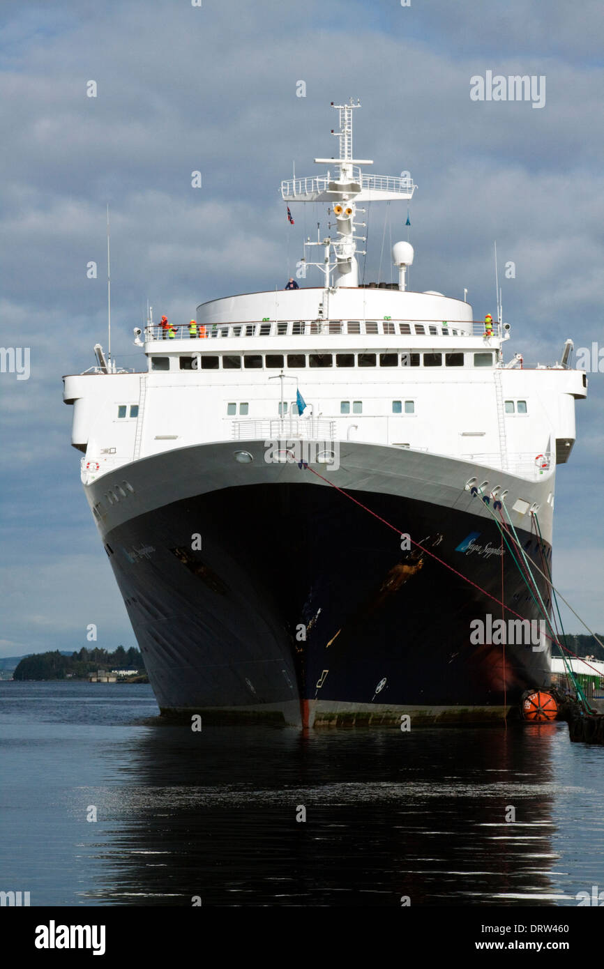 Cruise ship Saga Sapphire berthed in Stavanger harbour - Stock Image