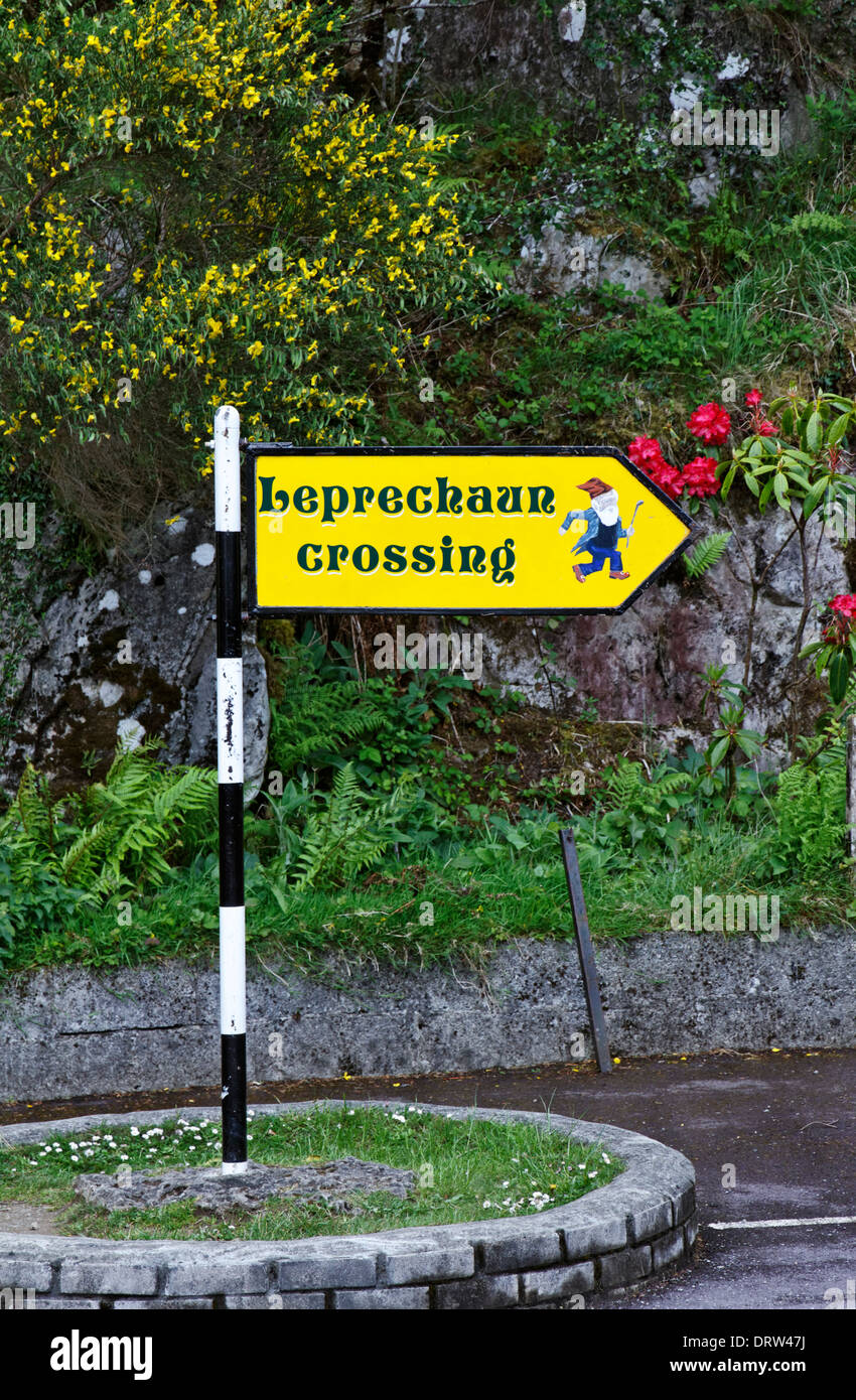Leprechaun Crossing sign on the Ring of Kerry, County Kerry, Ireland - Stock Image