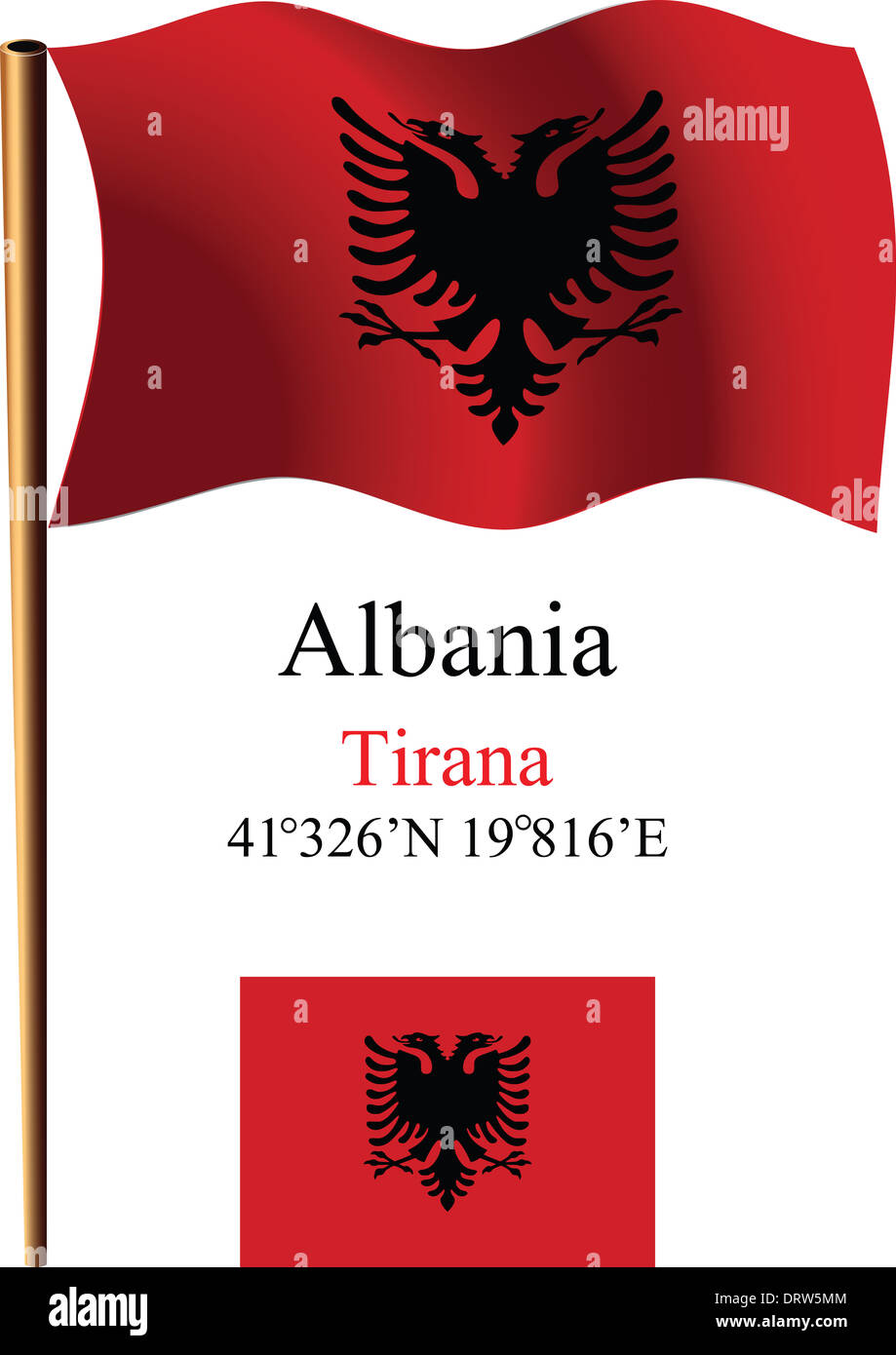 albania wavy flag and coordinates against white background, vector art illustration, image contains transparency - Stock Image
