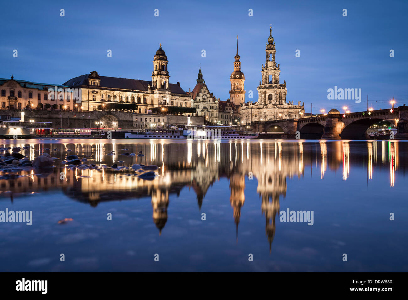 Dresden, Germany on the Elbe River. - Stock Image