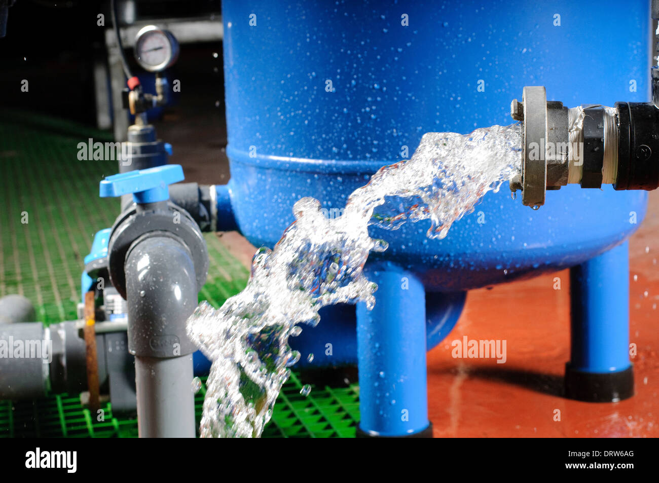 Water purification system. Water discharge - Stock Image