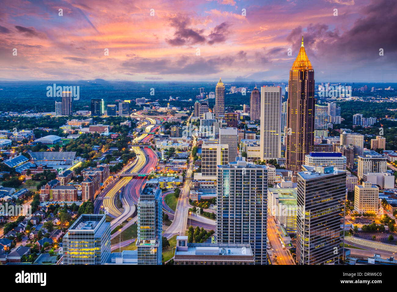 Atlanta, Georgia downtown aerial view. - Stock Image