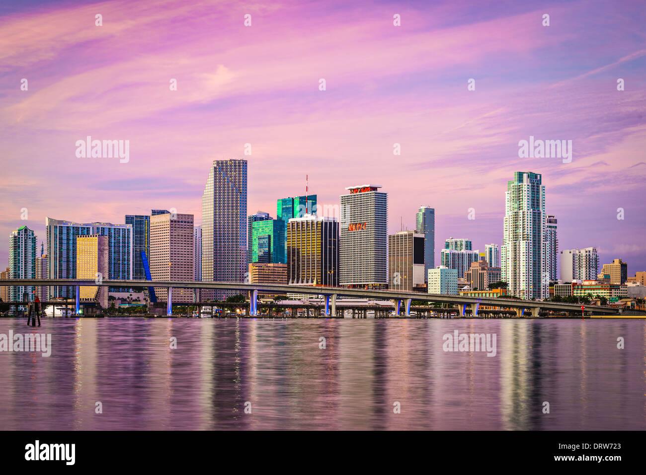 Miami, Florida skyline at Biscayne Bay. - Stock Image