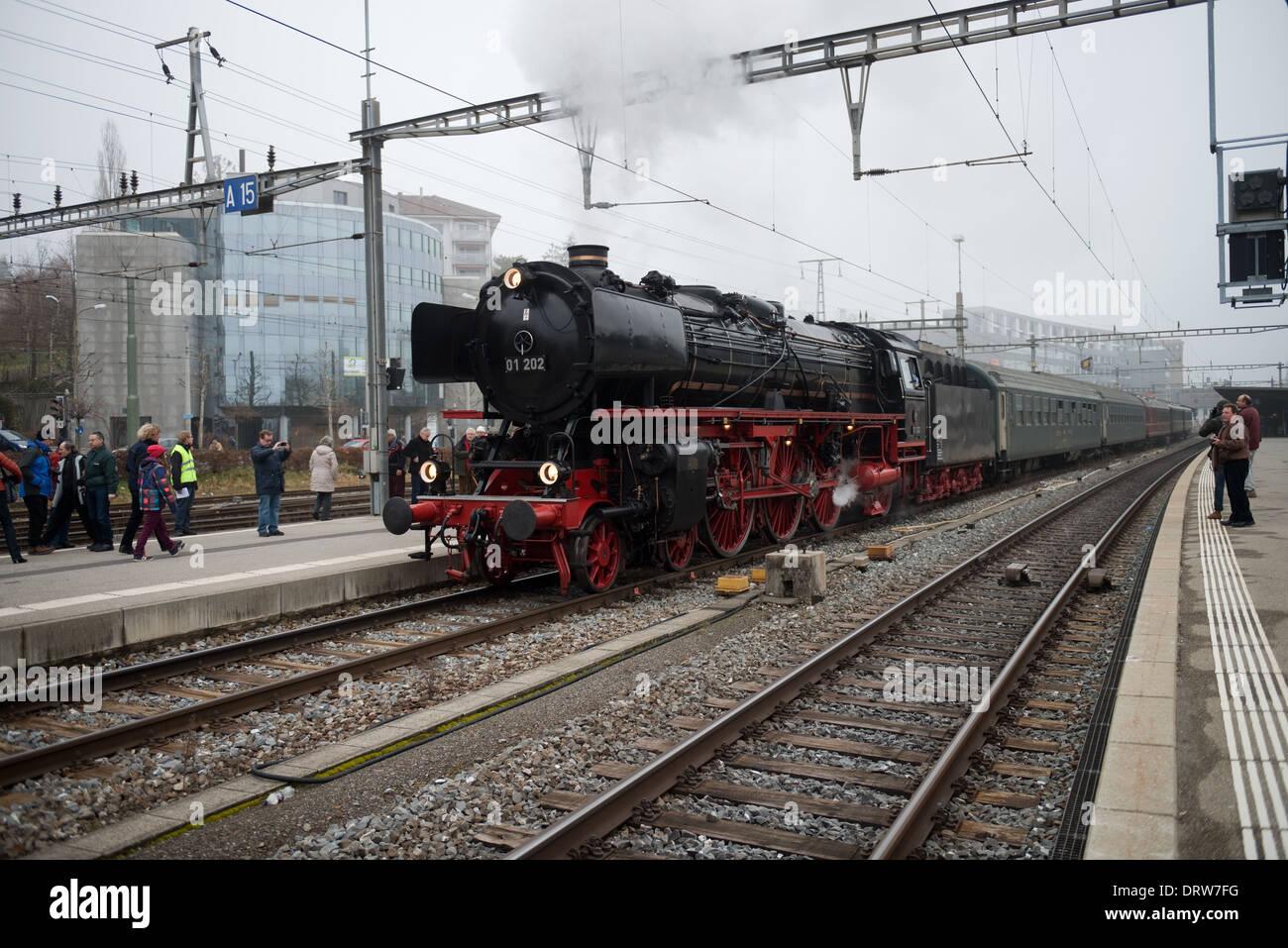 Deutsche Reichsbahn-Gesellschaft BR 01 Steam Locomotive at Fribourg Station, Switzerland -1 Stock Photo
