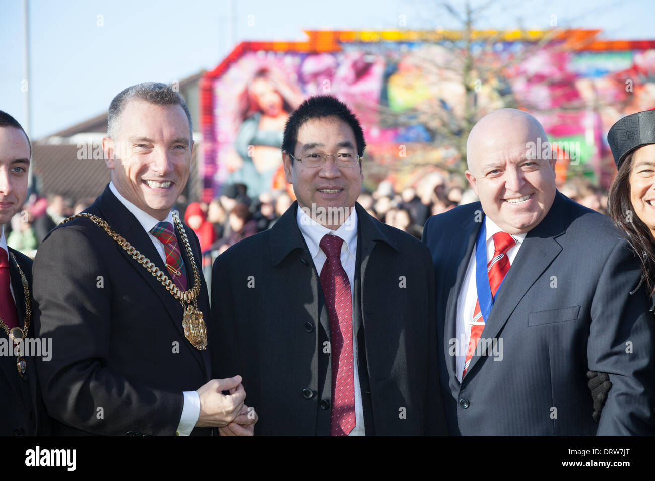 Liverpool, UK. 2nd Feb 2014. Lord Mayor of Liverpool Gary Millar and Liverpool Mayor Joe Anderson attend Chinese New Year celebrations in Liverpool Credit:  Adam Vaughan/Alamy Live News - Stock Image