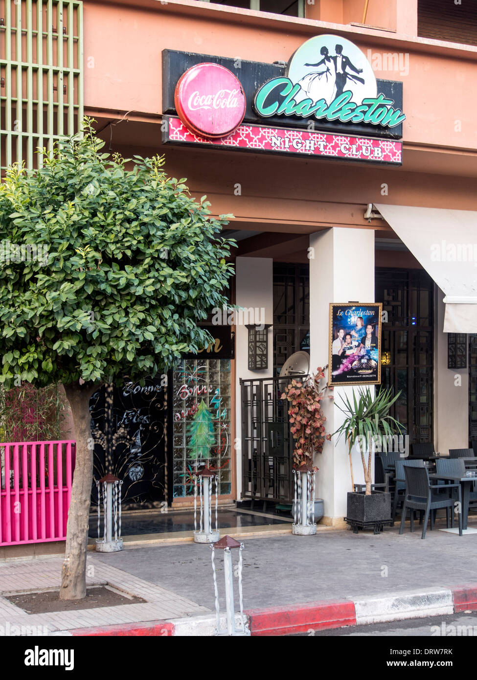 entrance to the charleston night club in the gueliz district of marrakech DRW7RK