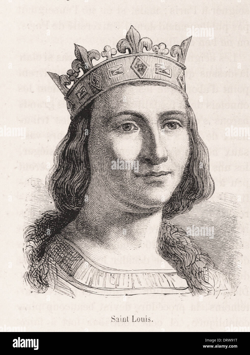 Portrait of Saint Louis king of france - French engraving XIX th century - Stock Image