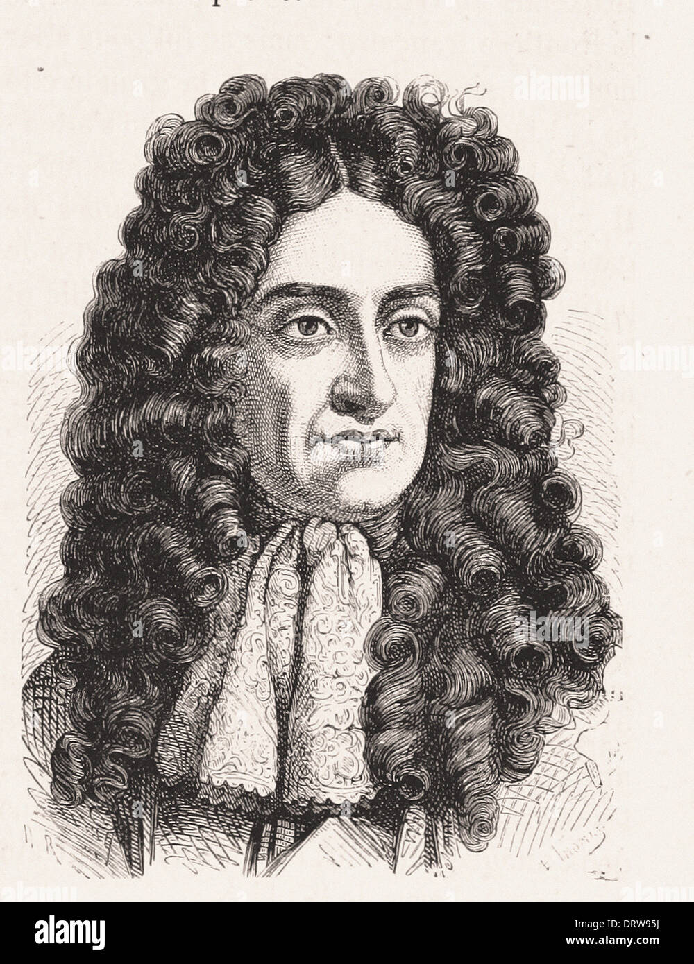 Portrait of Charles II King of England - French engraving XIX th century - Stock Image