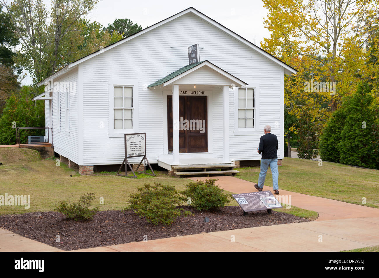 USA Mississippi MS Miss Tupelo Elvis Presley birthplace home birth - exterior of the old childhood family church - Stock Image
