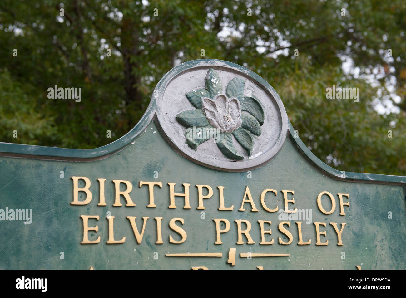 USA Mississippi MS Miss Tupelo Elvis Presley birthplace home birth sign - Stock Image