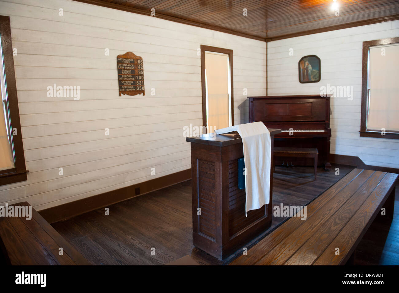 USA Mississippi MS Miss Tupelo Elvis Presley birthplace home birth - interior of his family church - Stock Image