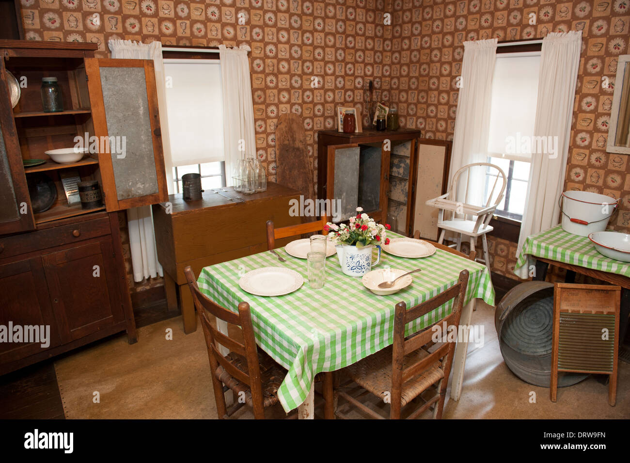 USA Mississippi MS Miss Tupelo Elvis Presley birthplace home birth - interior of the kitchen in his first home - Stock Image