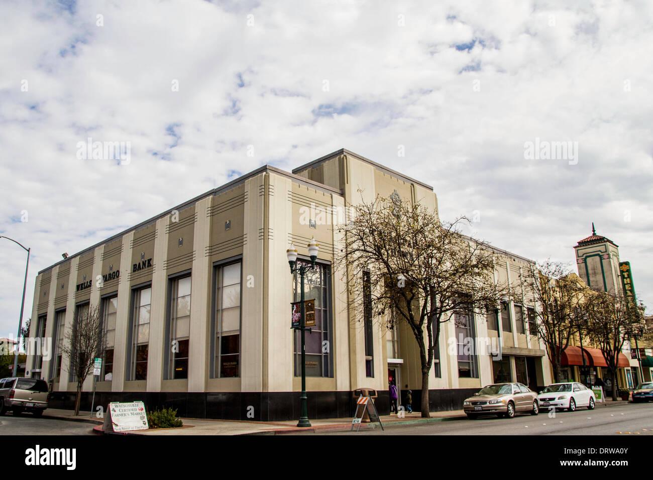 The Wells Fargo Bank Building in Watsonville California - Stock Image