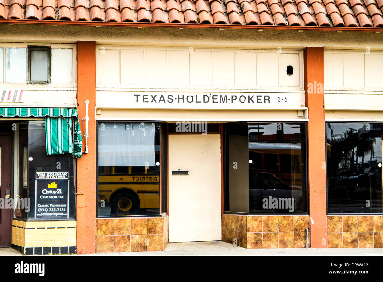 A humble Poker Parlor in Watsonville California January 2014 a farm community in Central California - Stock Image