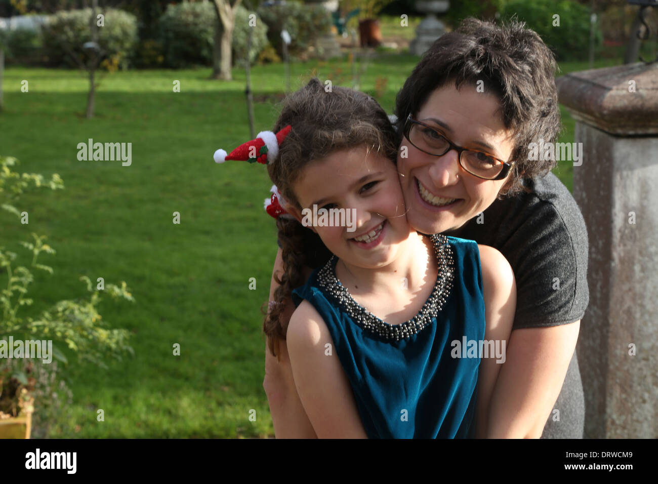woman 39 with child aged 7 - Stock Image