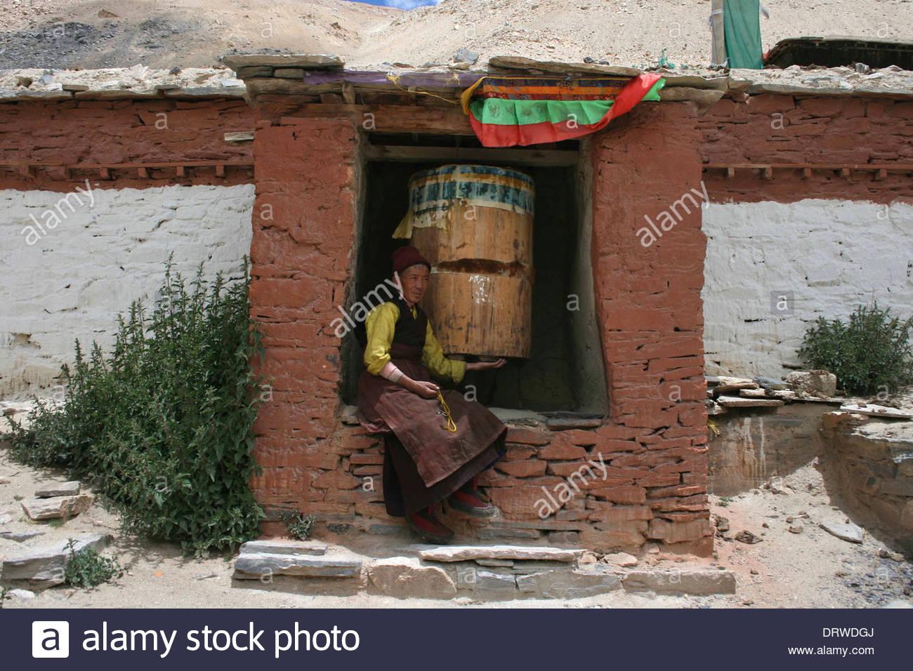 China Tibet Rongbuk Monastery - Stock Image