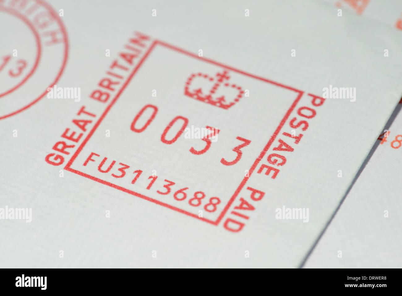 franked stamp on corner of envelope - Stock Image