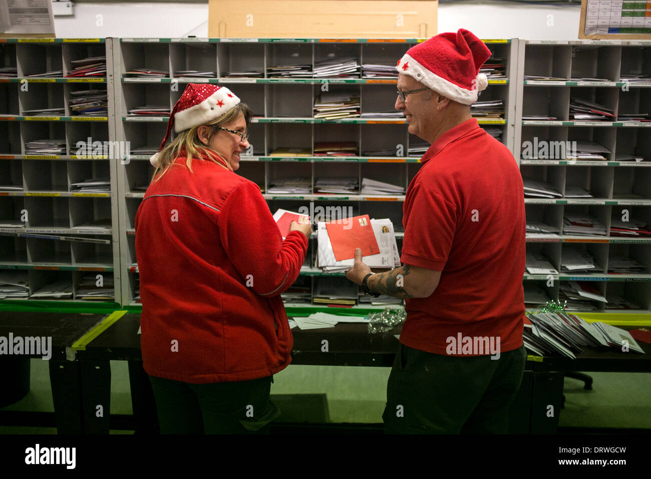 Royal Mail postal workers at Preston Mail Centre - Stock Image