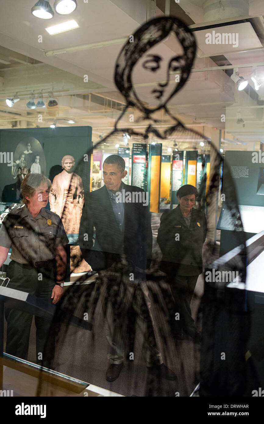 US President Barack Obama visits the Women's Rights National Historical Park Visitors Center August 22, 2013 in Seneca Falls, New York. - Stock Image