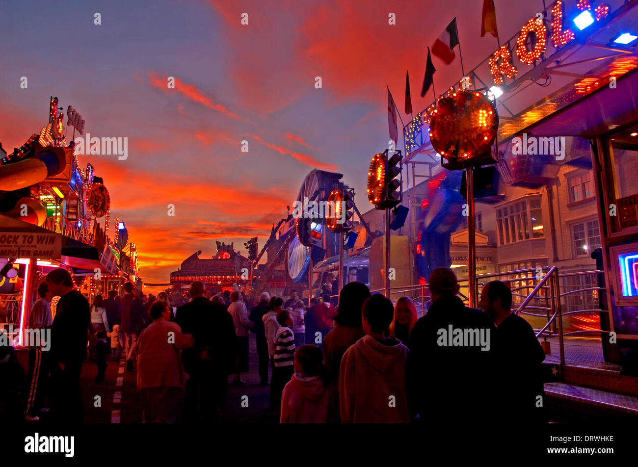 The Mop Fair visits Stratford upon Avon in October, with fairground rides taking over the town centre streets - Stock Image