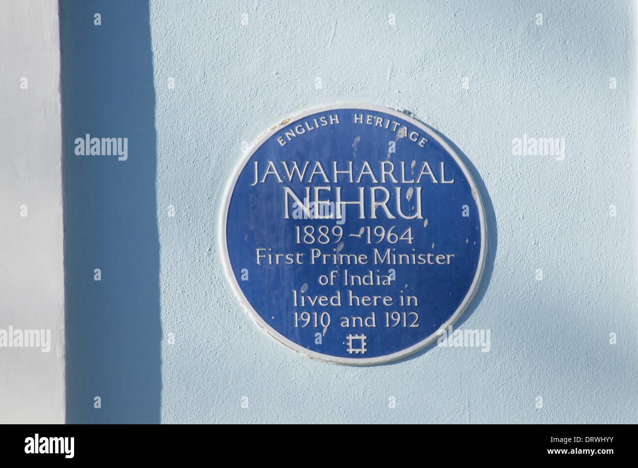 Blue Plaque of Jawaharlal Nehru, London England United Kingdom UK - Stock Image