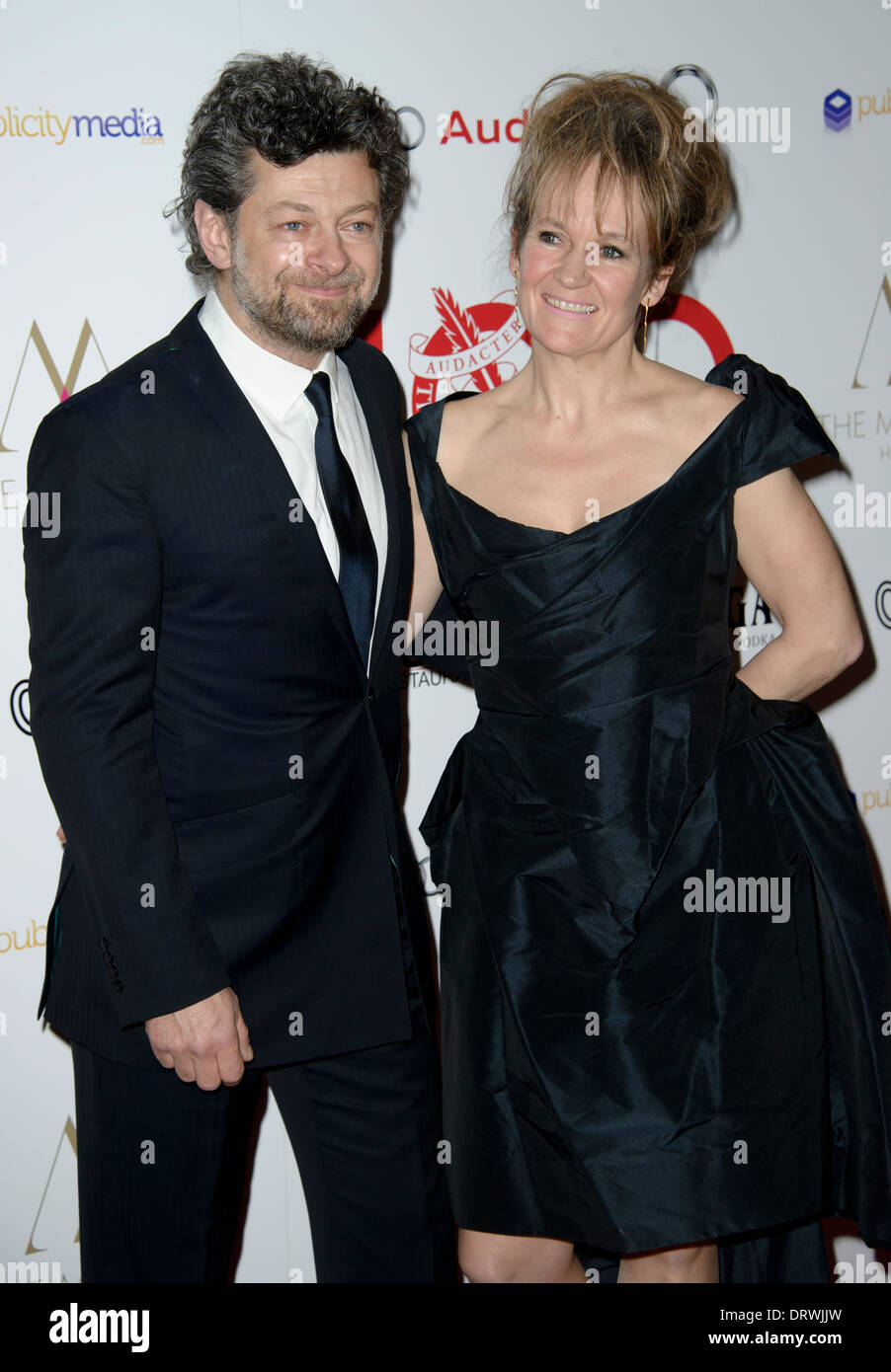 Andy Serkis and Lorraine Ashbourne arrive for The London Critics Circle Awards, in London. - Stock Image