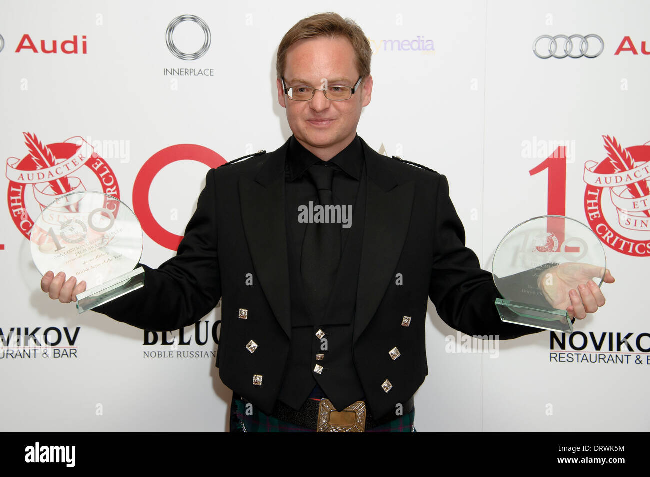 Jon S Baird with his award for Breakthrough British Filmmaker at The London Critics Circle Awards, in London. - Stock Image