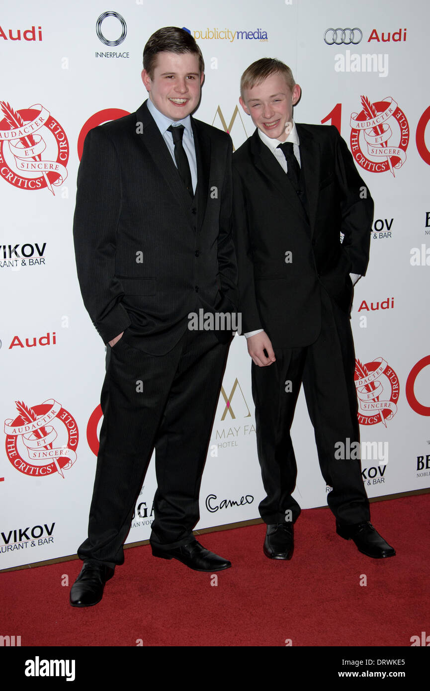 Shaun Thomas and Conner Chapman arrive for The London Critics Circle Awards, in London. - Stock Image
