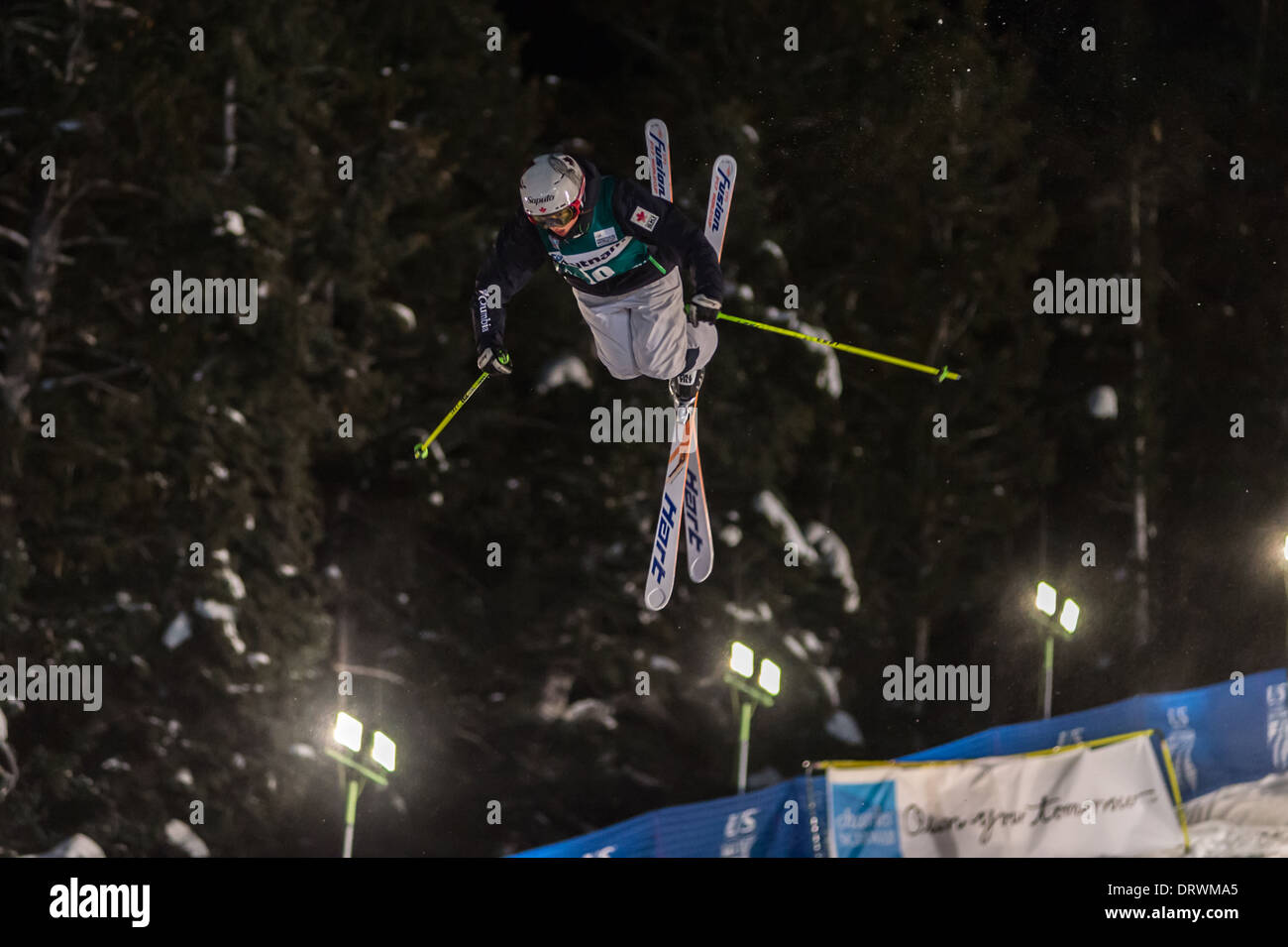 Maxime DUFOUR-LaPointe Launches at FIS Freestyle Ski World Cup 2014 Moguls, Deer Valley Resort, Park City, UT, USA - Stock Image
