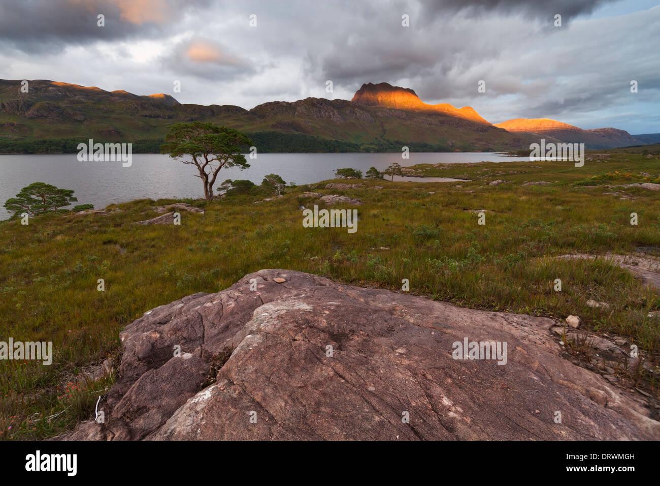 Scottish Highlands, Loch Maree and Slioch Stock Photo