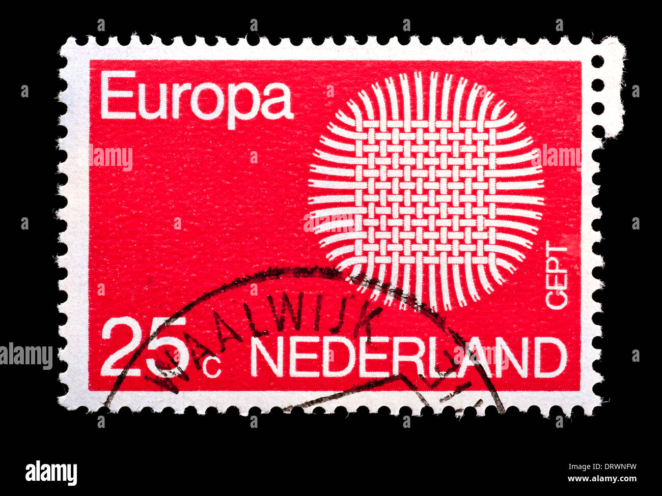 Postage Stamp From The Netherlands Depicting An Interwoven Fabric Stylized Issued As Common Europa