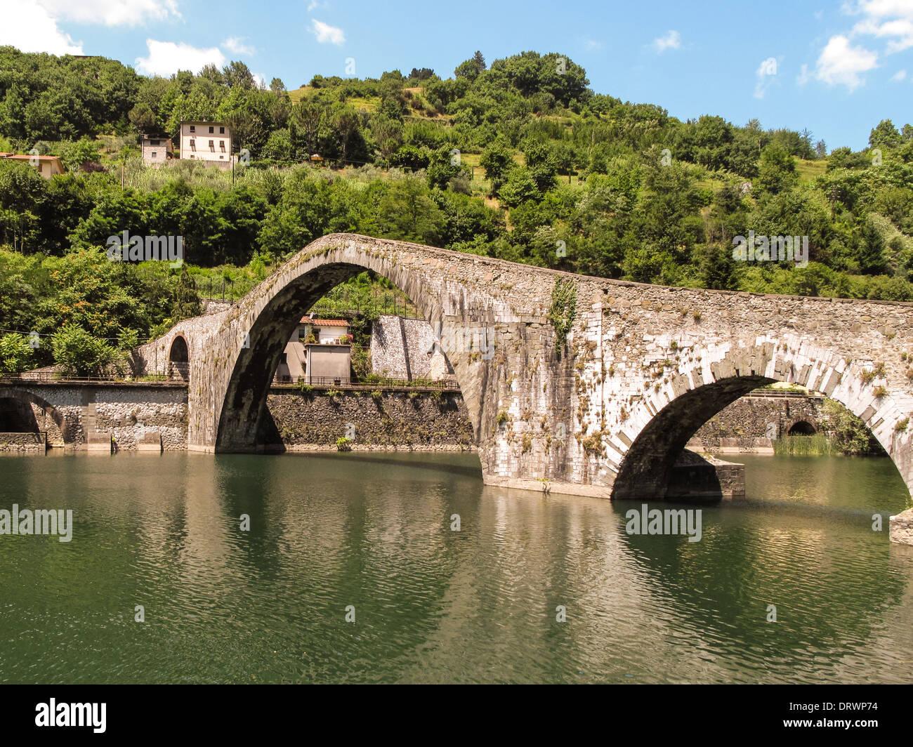 Medieval bridge near Bagni Di Lucca, Italy Stock Photo: 66334440 - Alamy