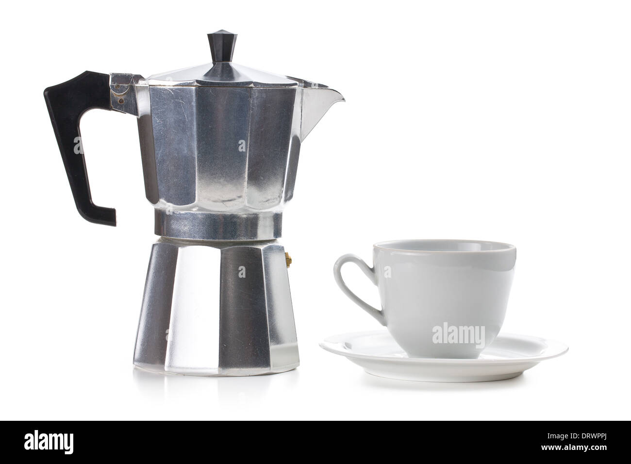 coffee maker with ceramic cup on white background - Stock Image
