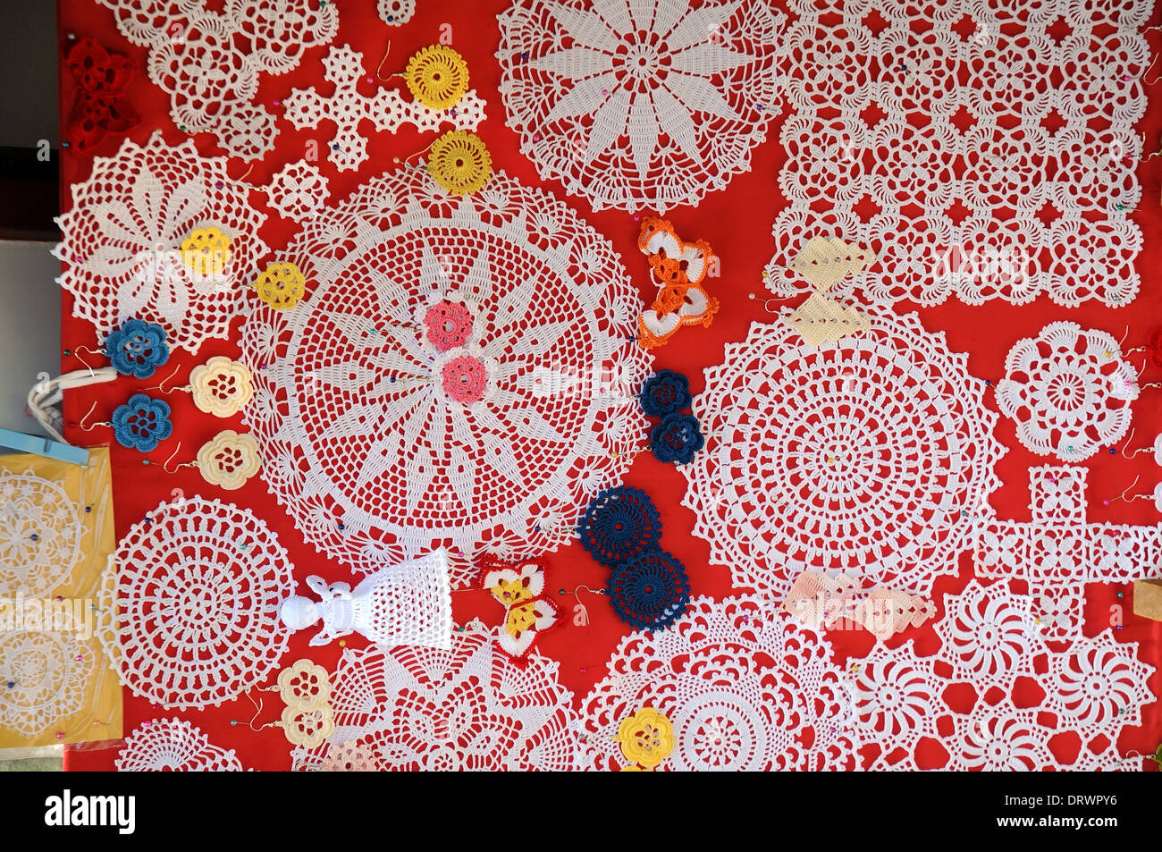 Lace art work in Pag island, Croatia - Stock Image