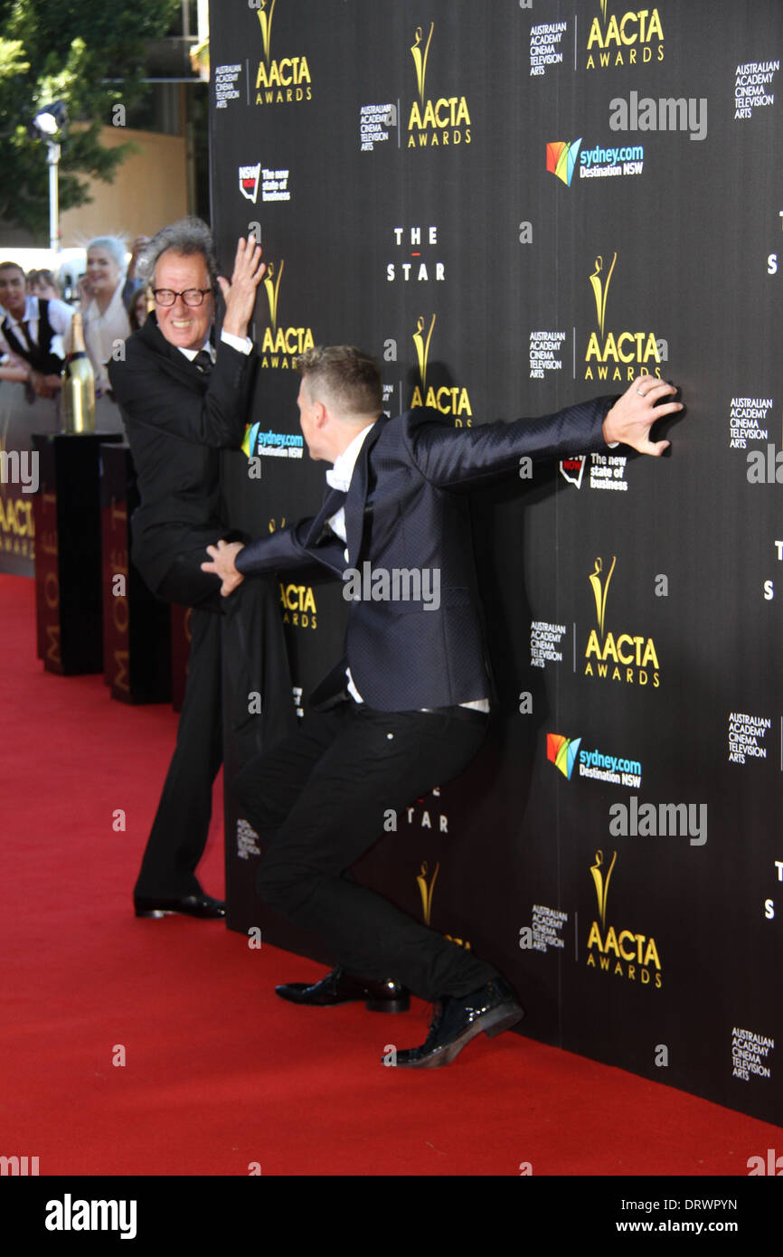 Geoffrey Rush arrives on the red carpet for the 3rd annual AACTA awards. - Stock Image