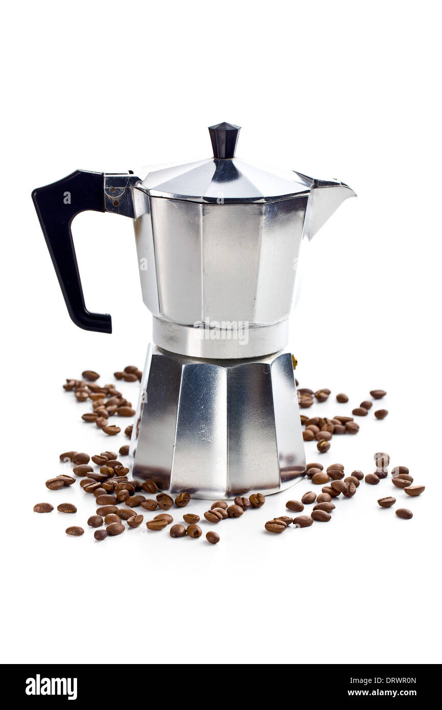 coffee maker with coffee beans on white background - Stock Image