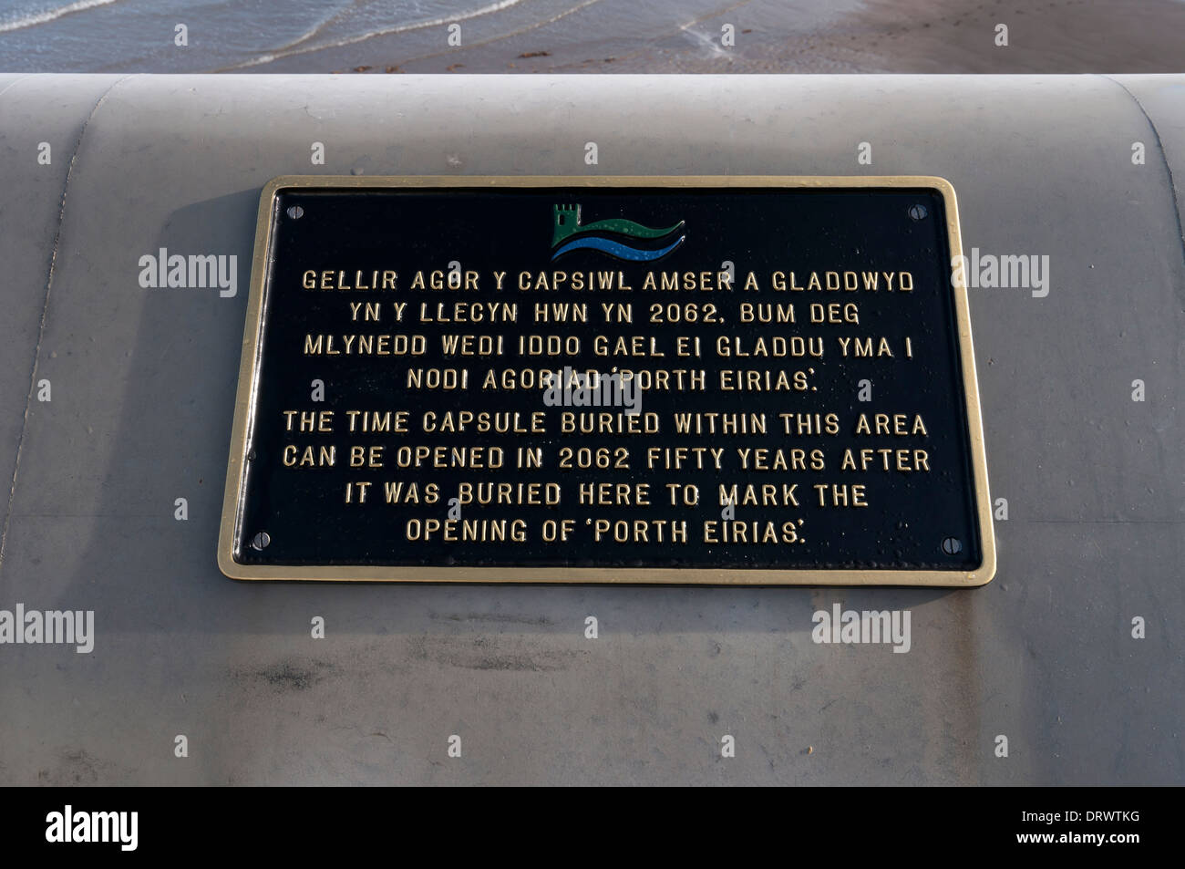 Time capsule notice at Porth Eirias Water sports center Colwyn Bay North Wales Stock Photo