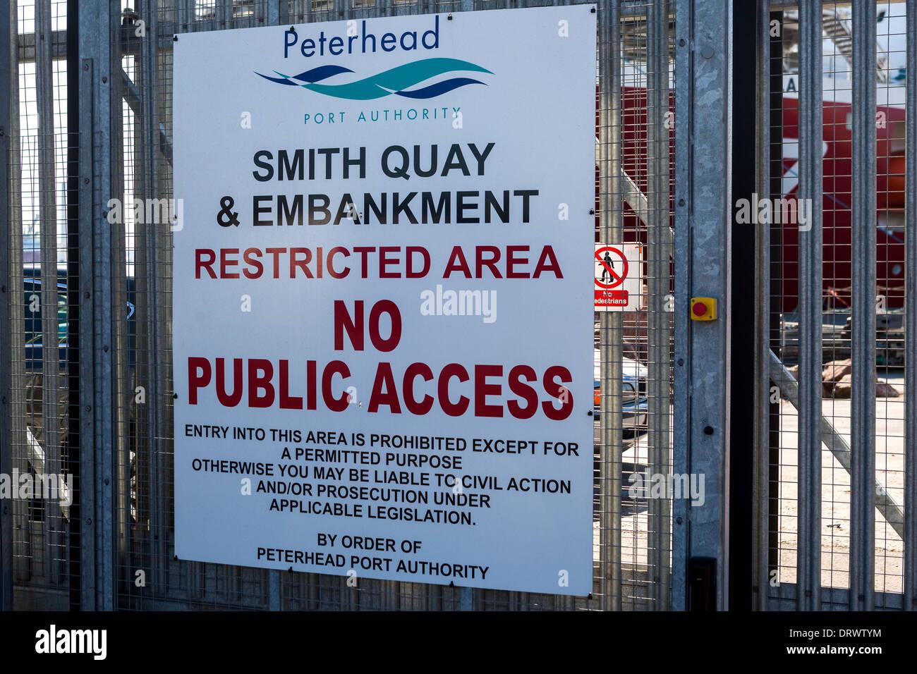 No public access sign. Peterhead Harbour Scotland - Stock Image