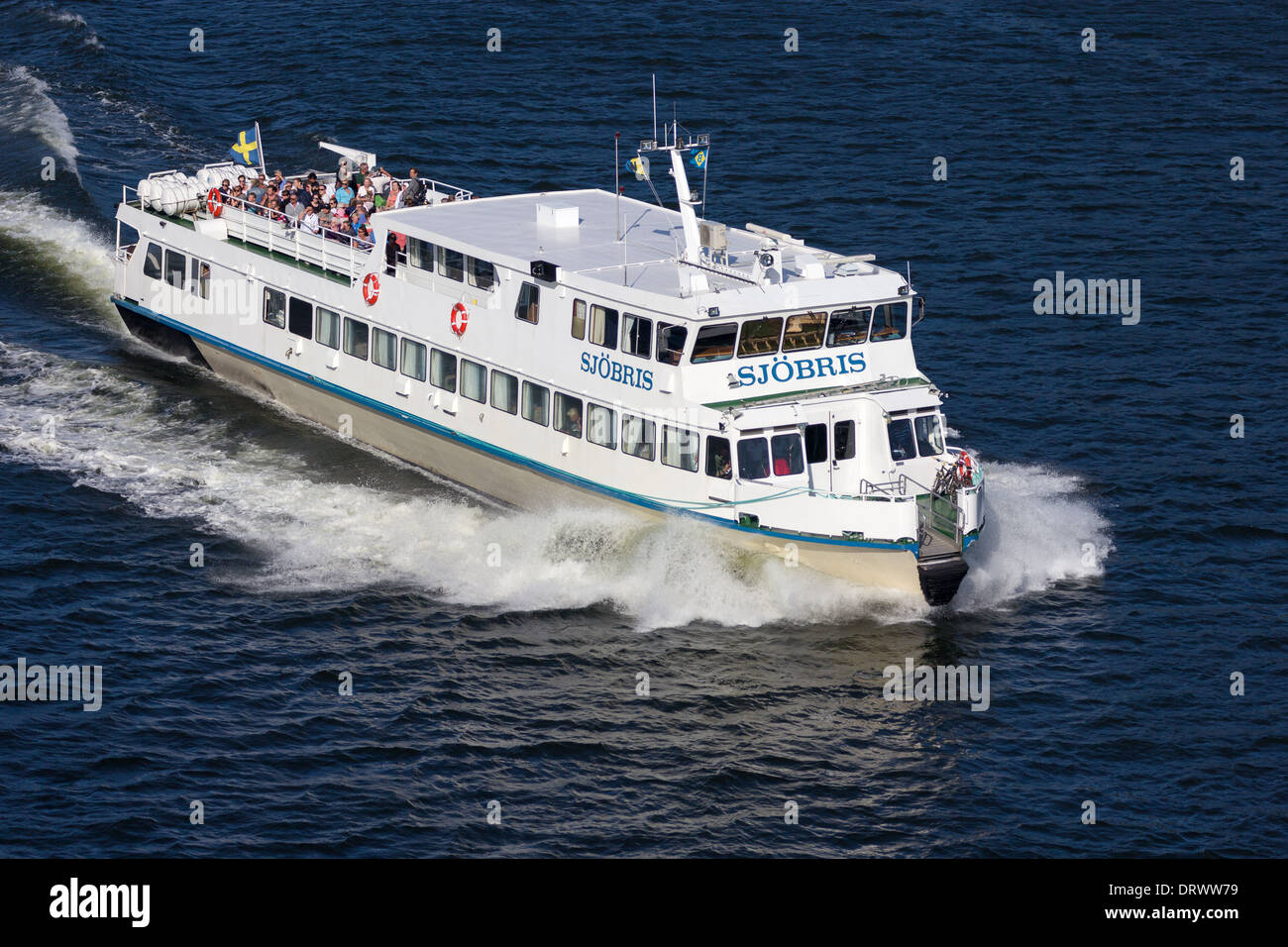 Ferry sailing from stockholm into the archipelago Sweden Stock Photo